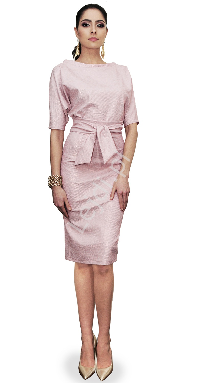 Pastelowo różowa sukienka elegancka, Polski producent, m353 - Lejdi