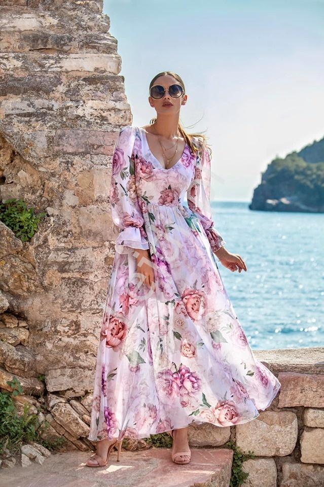 Pastelowo różowa sukienka szyfonowa w kwiaty Olivia - Lejdi