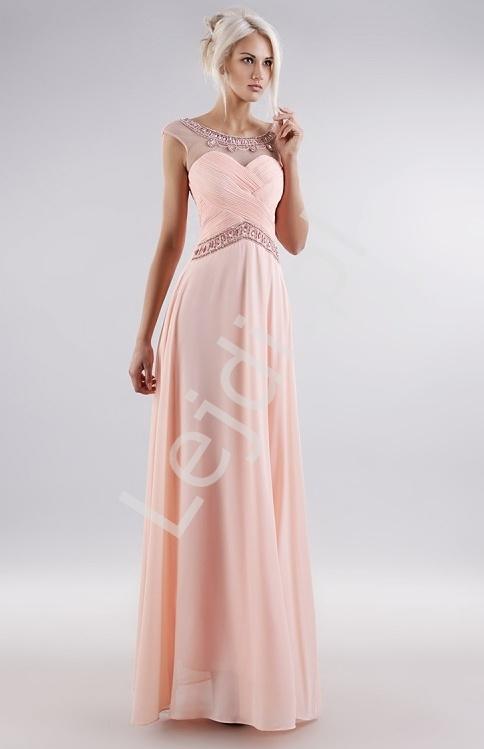 Pastelowo różowa suknia z kryształkami z drapowanym gorsetem - Lejdi