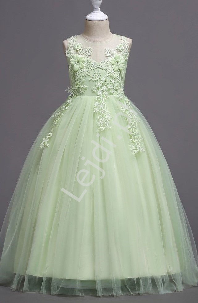 Pastelowo zielona suknia dla dziewczynki na bal, wesele 832 - Lejdi