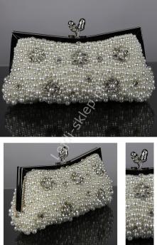 b3b30c2a00494 Perełkowa torebka z kwiatami z kryształków, torebka ślubna, biała torebka