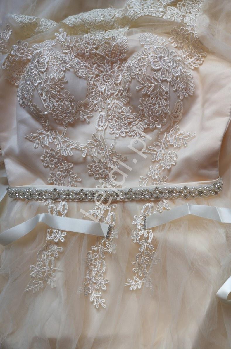 Perełkowy pasek do sukienki ecru 803 - Lejdi
