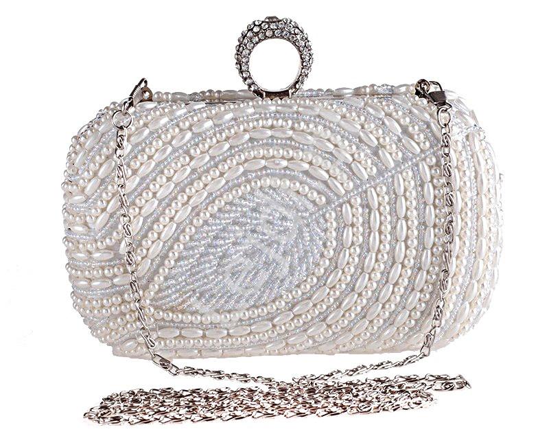 Perłowa torebka wieczorowa zdobiona koralikami, torebka w formie szkatułki