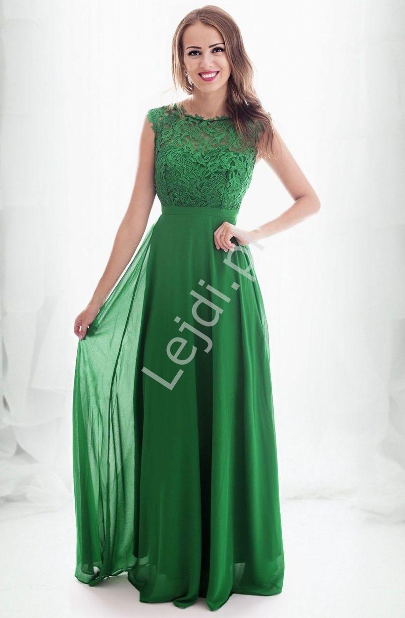 Piękna sukienka w kolorze soczystej zieleni z gipiurową koronką na biuście na studniówkę, 1275 - Lejdi