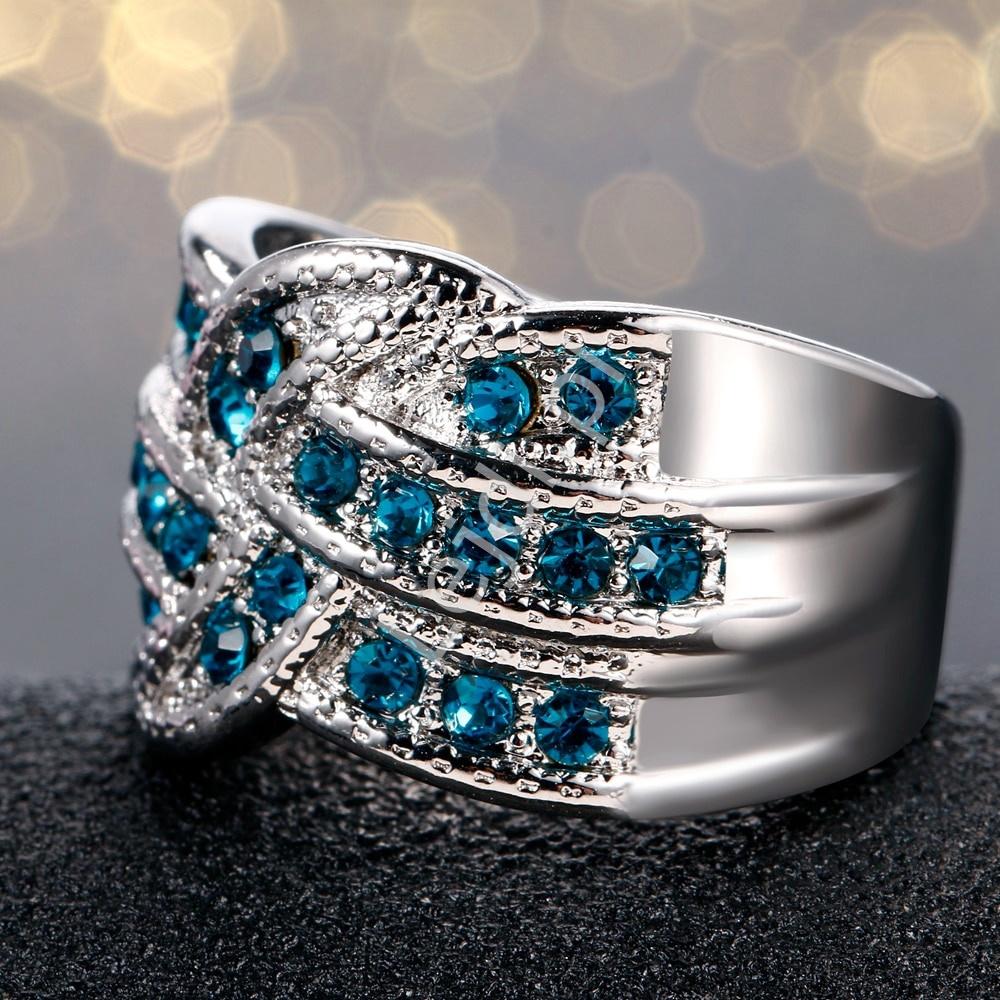 Pierścionek S 925 Akwamaryn Biżuteria ślubna Pierścionek
