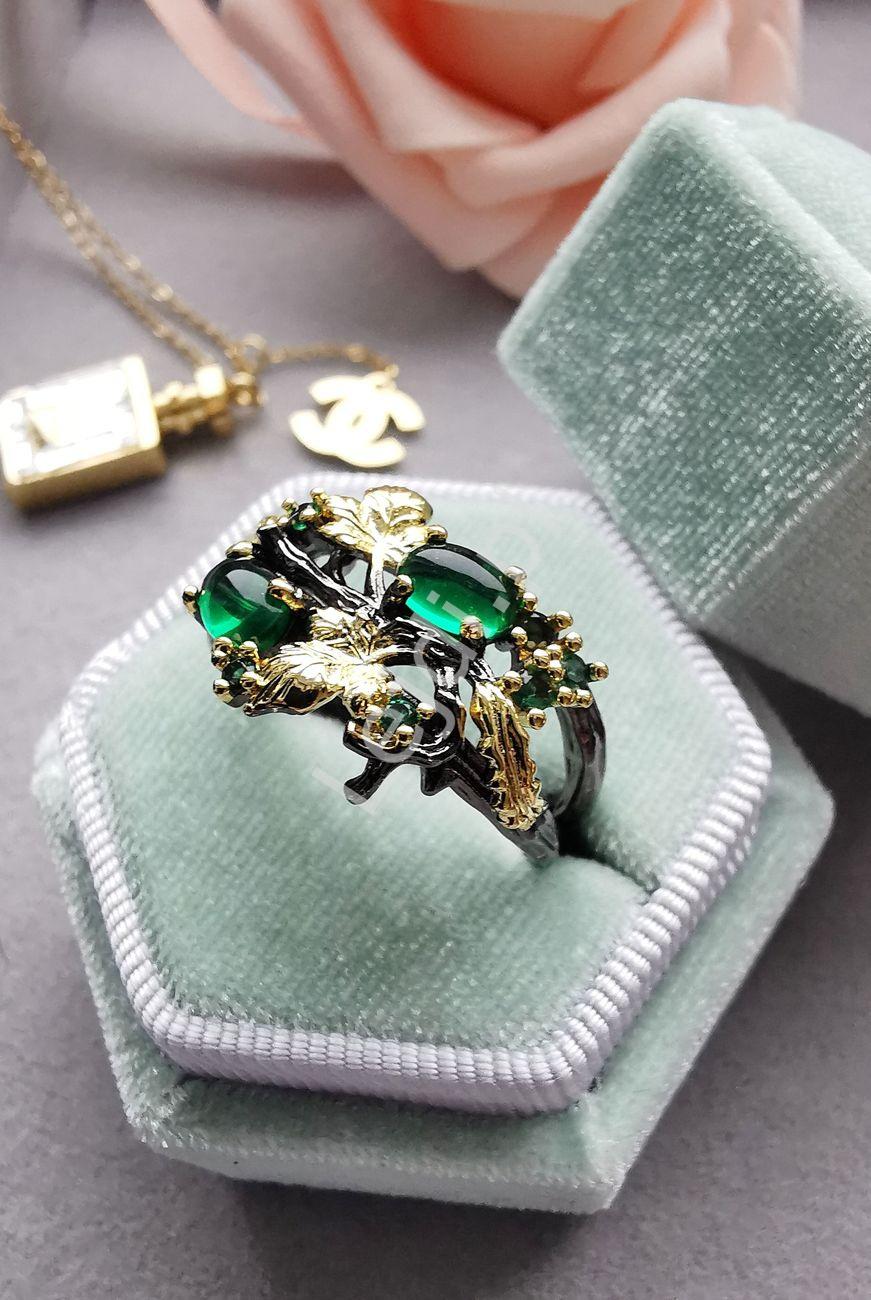 Pierścionek z listkami złoto zielony