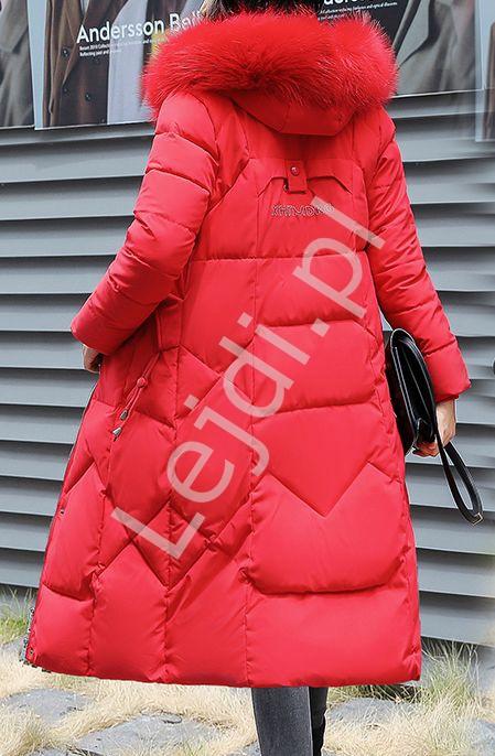 Pikowany czerwony płaszcz damski , puchowy 9777 - Lejdi