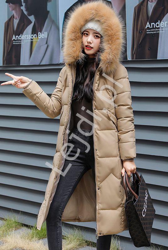 Pikowany płaszcz damski khaki , puchowa długa kurtka 9777 - Lejdi