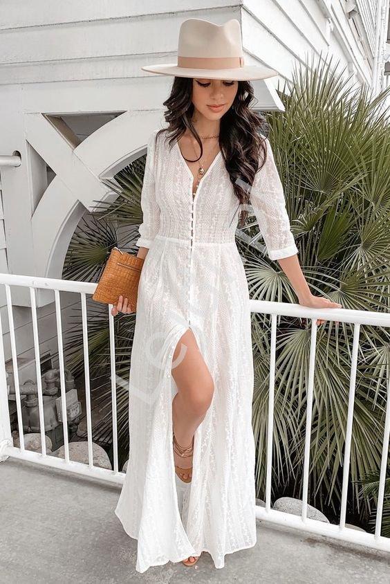 Plażowa długa biała narzutka, sukienka na lato 3819 - Lejdi