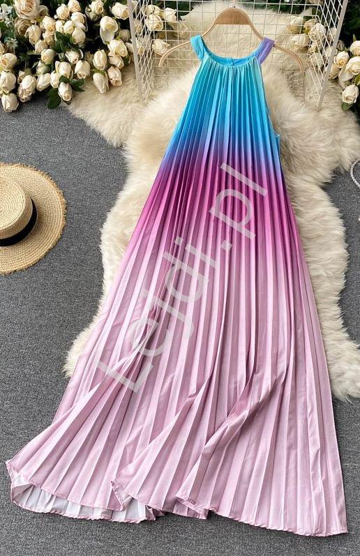 Plisowana letnia różowo niebieska sukienka ombre 0967 - Lejdi