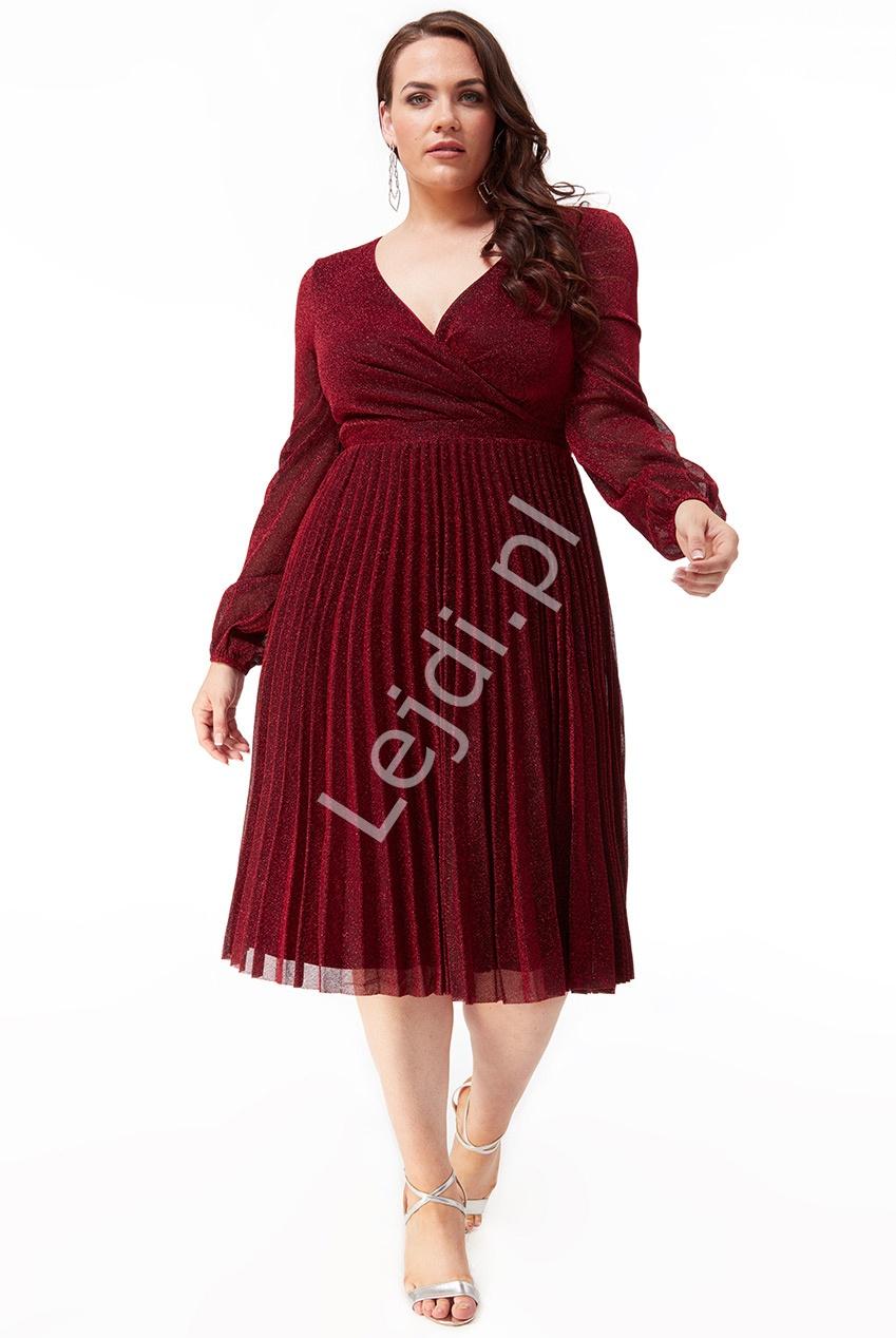 Plisowana lureksowa sukienka z mieniącymi się opiłkami Plus Size , ciemne wino 2410P - Lejdi