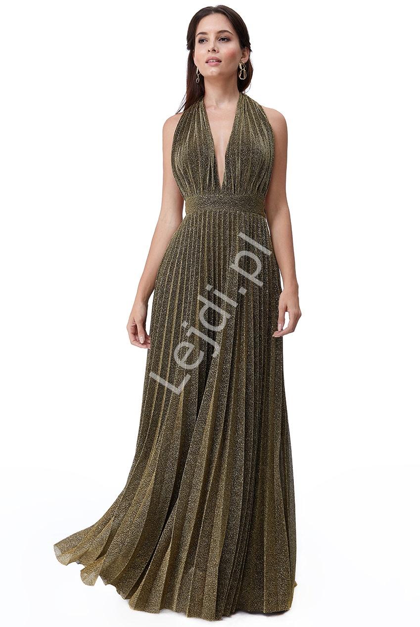 Plisowana sukienka z połyskującymi złotymi drobinkami Goddiva 2496 - Lejdi