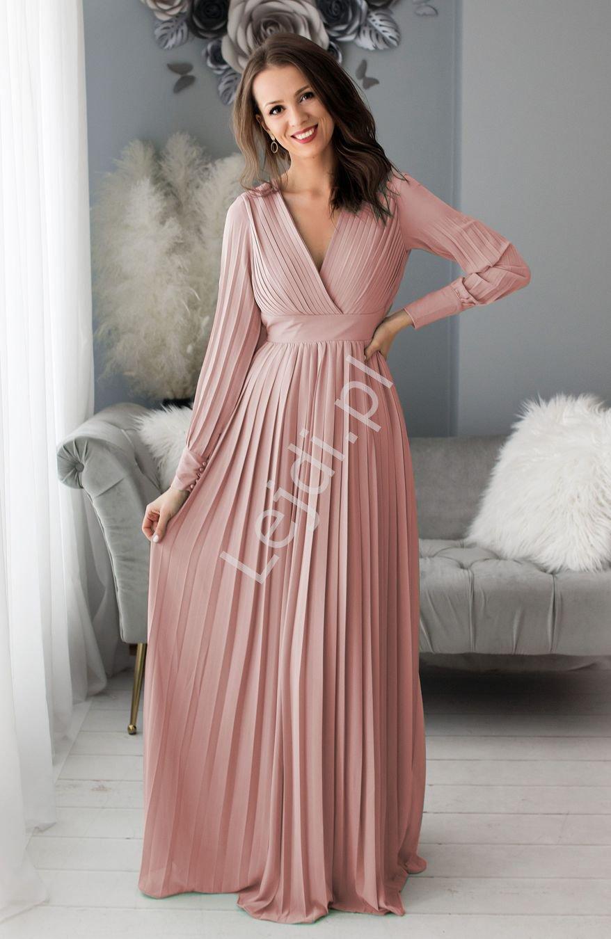 Plisowana suknia wieczorowa z odkrytymi plecami, kolor pustynny róż 1412 - Lejdi