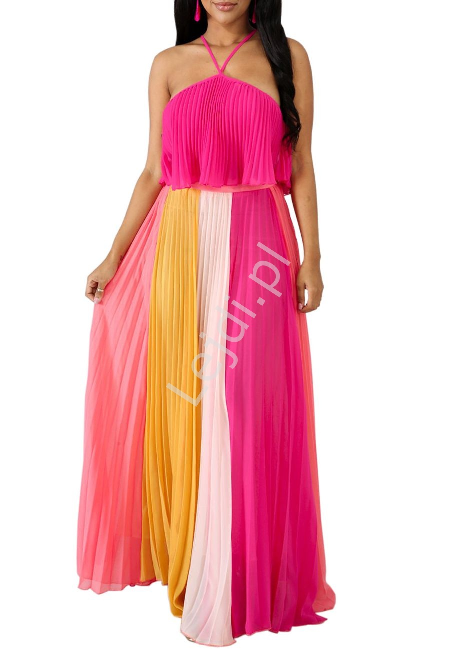 Plisowany szyfonowy komplet, długa spódnica i bluzeczka ala sukienka w odcieniach różu - Lejdi