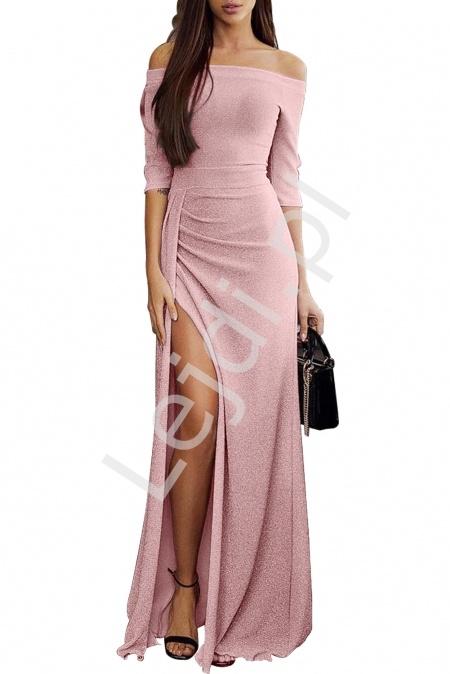 Połyskująca seksowna sukienka wieczorowa z błyszczącą nitką - jasny róż 934 - Lejdi
