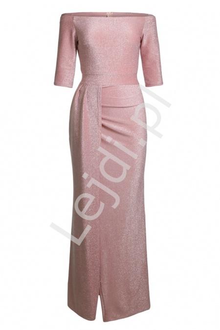 361c982c7a Połyskująca seksowna sukienka wieczorowa z błyszczącą nitką - jasny róż 934