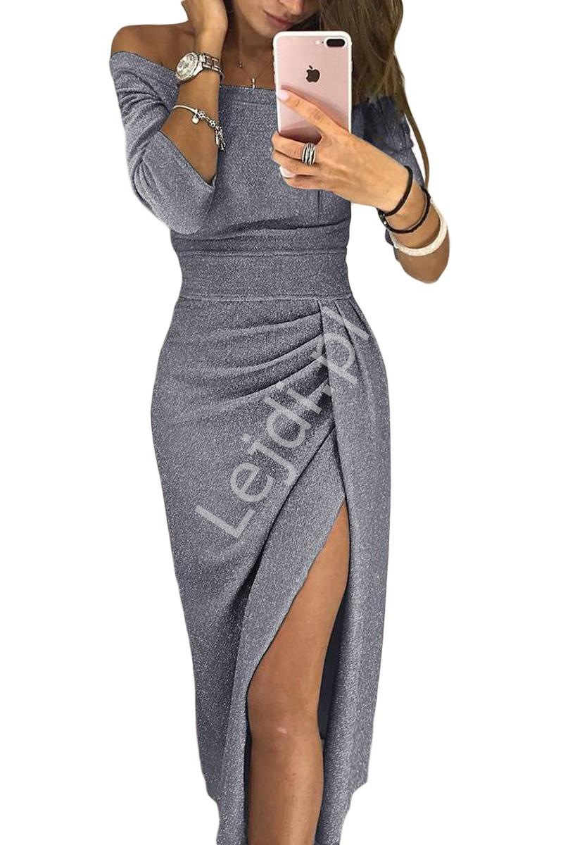 Połyskująca srebrna sukienka wieczorowa 566 - Lejdi