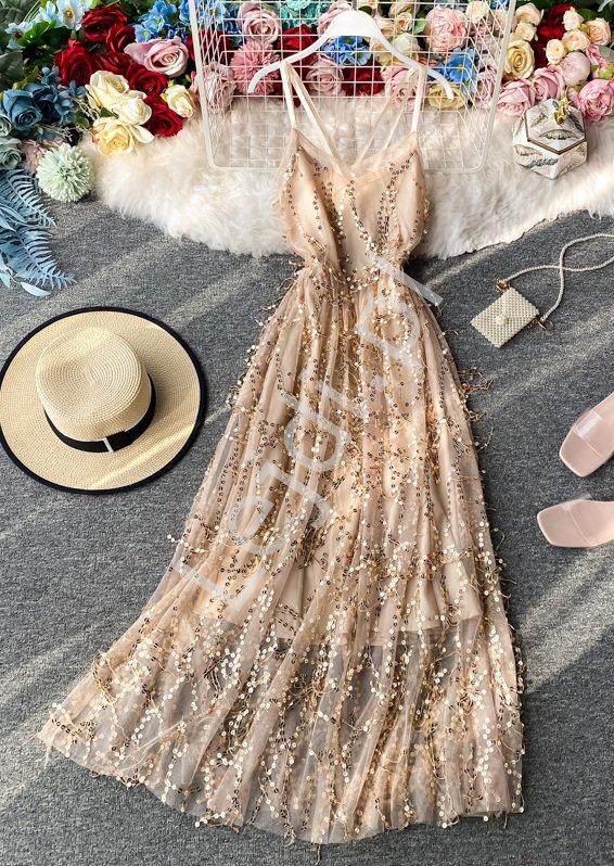 Połyskująca sukienka tiulowa z cekinami 4186 - Lejdi