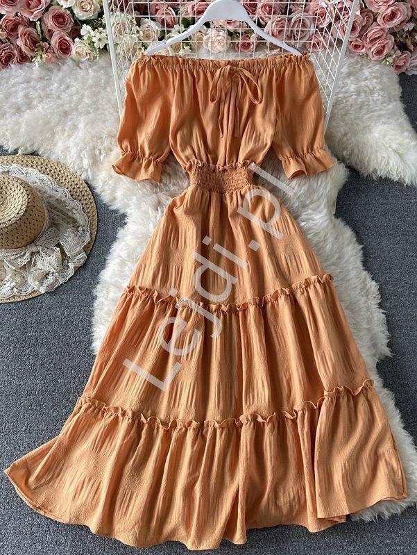 Pomarańczowa sukienka letnia z falbanami hiszpanka 1148 - Lejdi