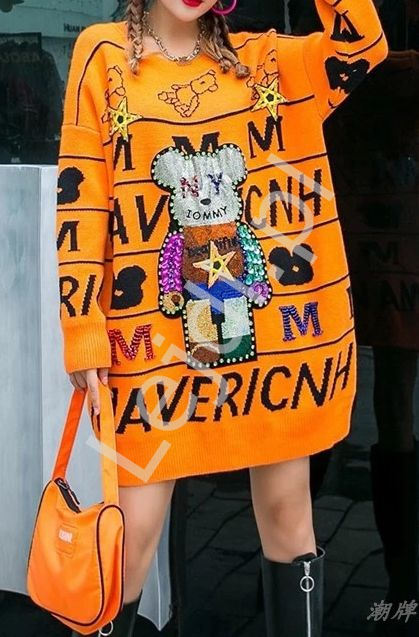 Pomarańczowy luksusowy sweter z mega zdobieniem , kryształkowy miś, cekiny - Lejdi