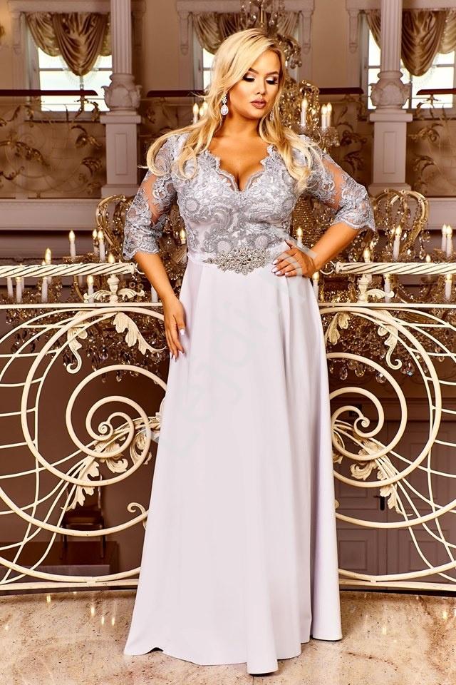 Popielata sukienka plus size z koronkową górą z cekinami - Crystal 3/4 - Lejdi