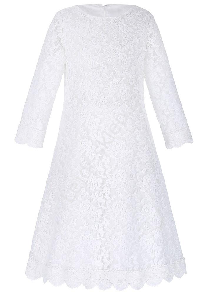 Prosta koronkowa biała sukienka dla dziewczynki | sukienka na komunie - Lejdi