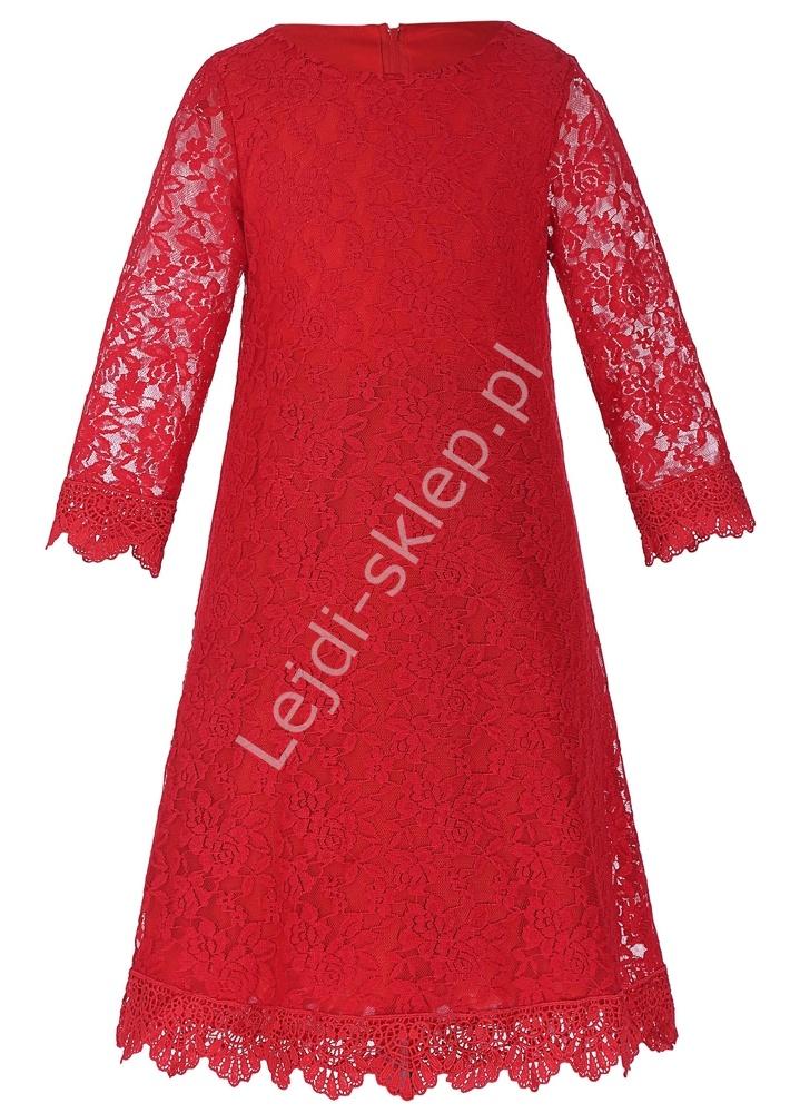 Prosta koronkowa czerwona sukienka dla dziewczynki - Lejdi