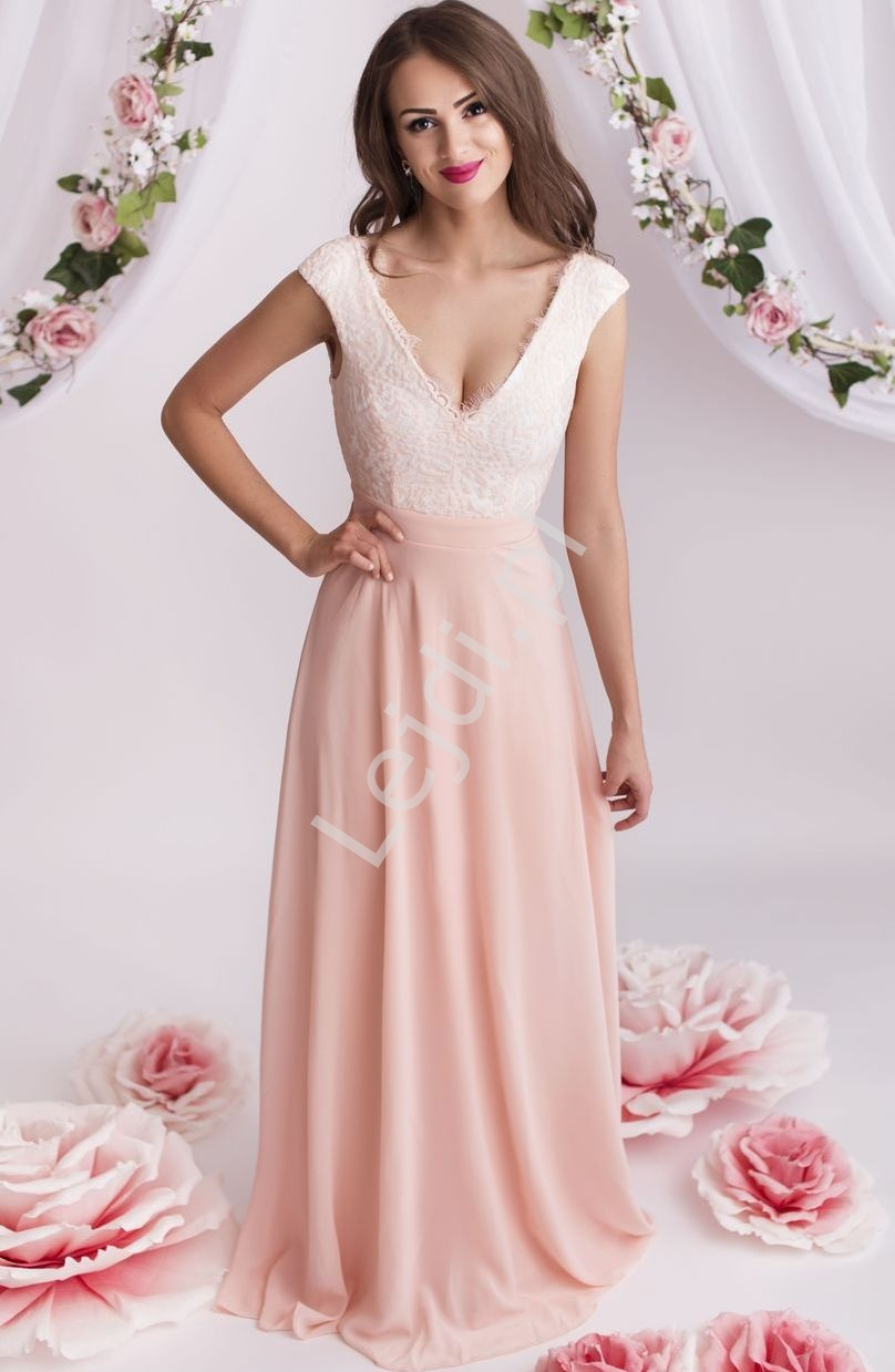 Prosta sukienka z koronką | sukienki dla druhen, świadkowej - Lejdi