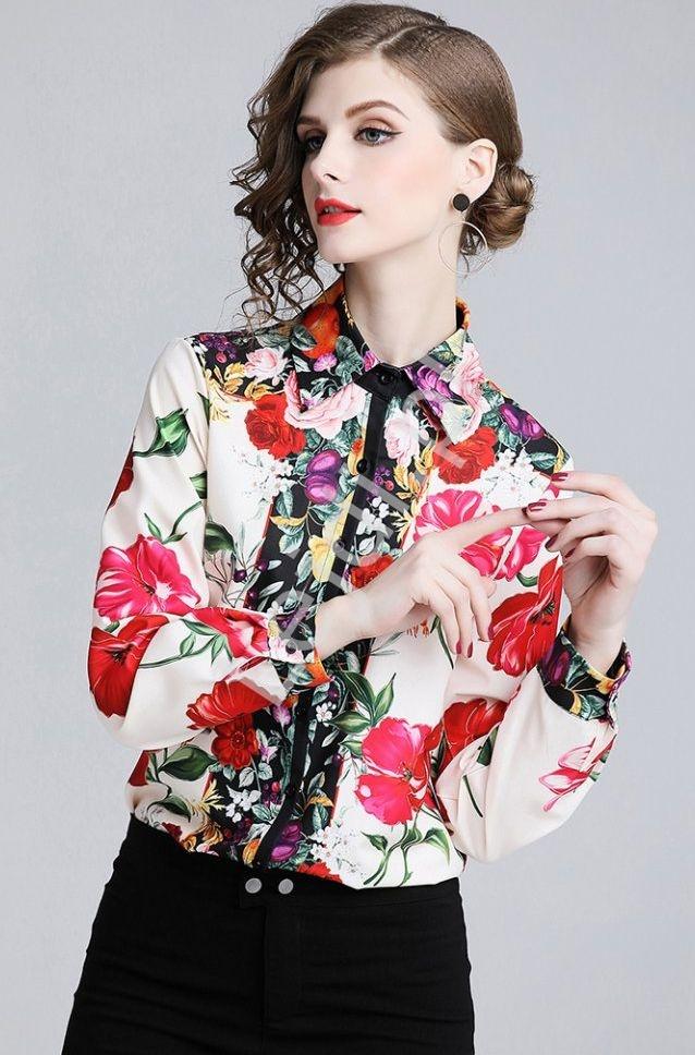 Przepiękna damska koszula w kwiaty 2930 - Lejdi