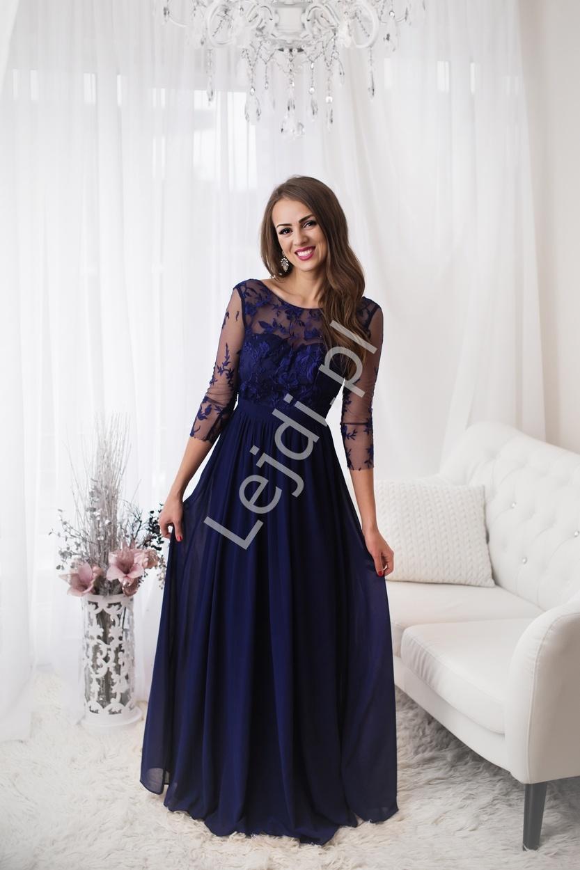bd726375e3 Przepiękna długa suknia wieczorowa w czarnym kolorze z długim rękawem  obszytym gipiurową koronką
