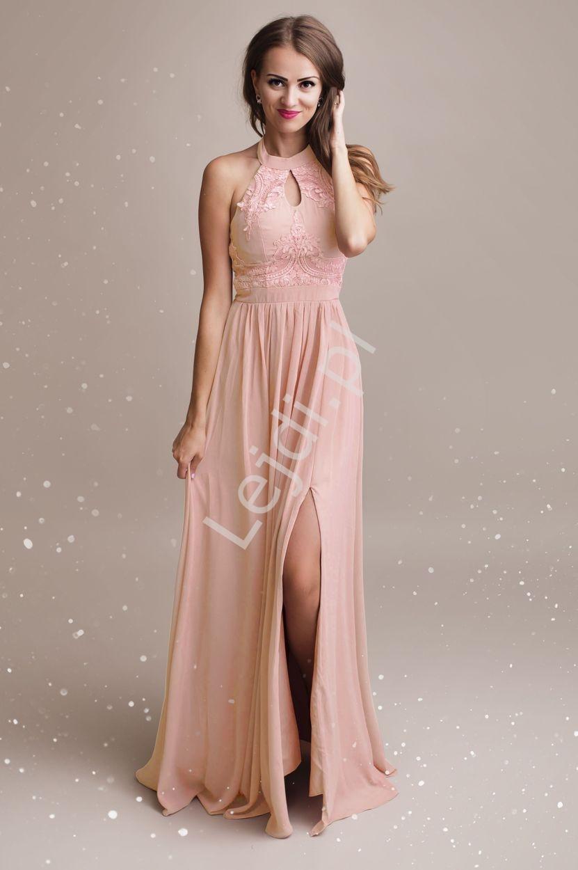 Przepiękna jasno różowa suknia wieczorowa wysmuklająca sylwetkę 1319 - Lejdi