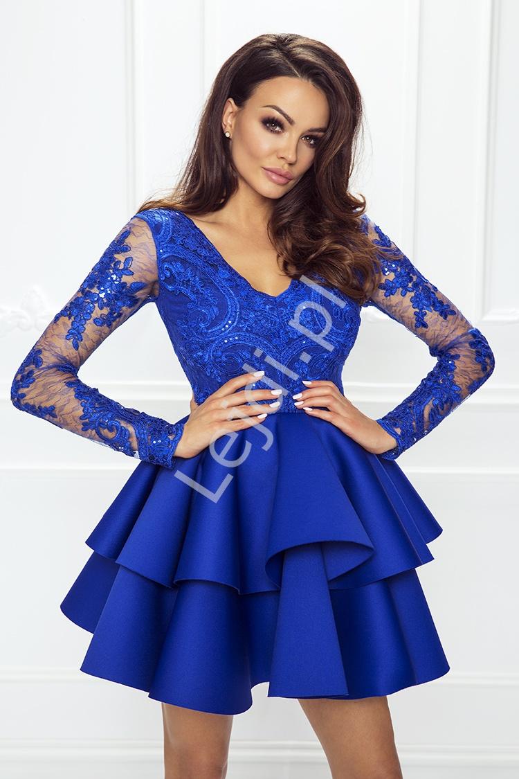 688b487ba4 Krótka rozkloszowana sukienka z falbaną chabrowa
