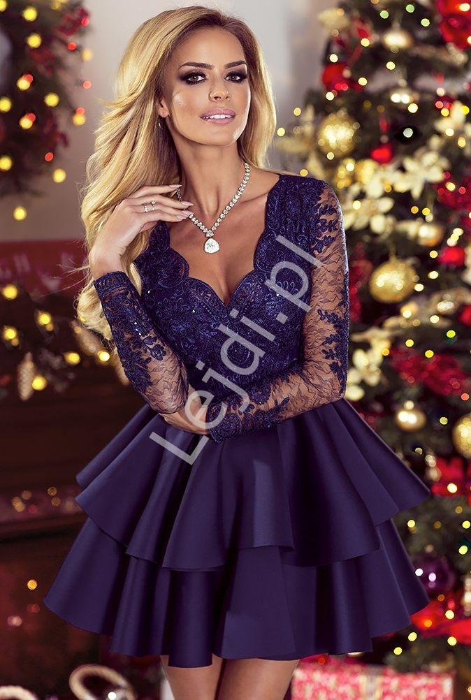 Krótka rozkloszowana sukienka z falbaną granatowa | Sukienka krótka wieczorowa Lili - Lejdi