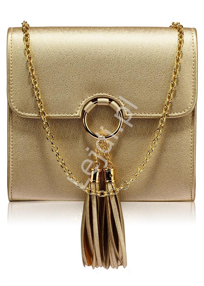 cf4f847b46ca3 Przepiękna modna torebka z kółkiem i chwostami w błyszczącym złotym  metalicznym kolorze