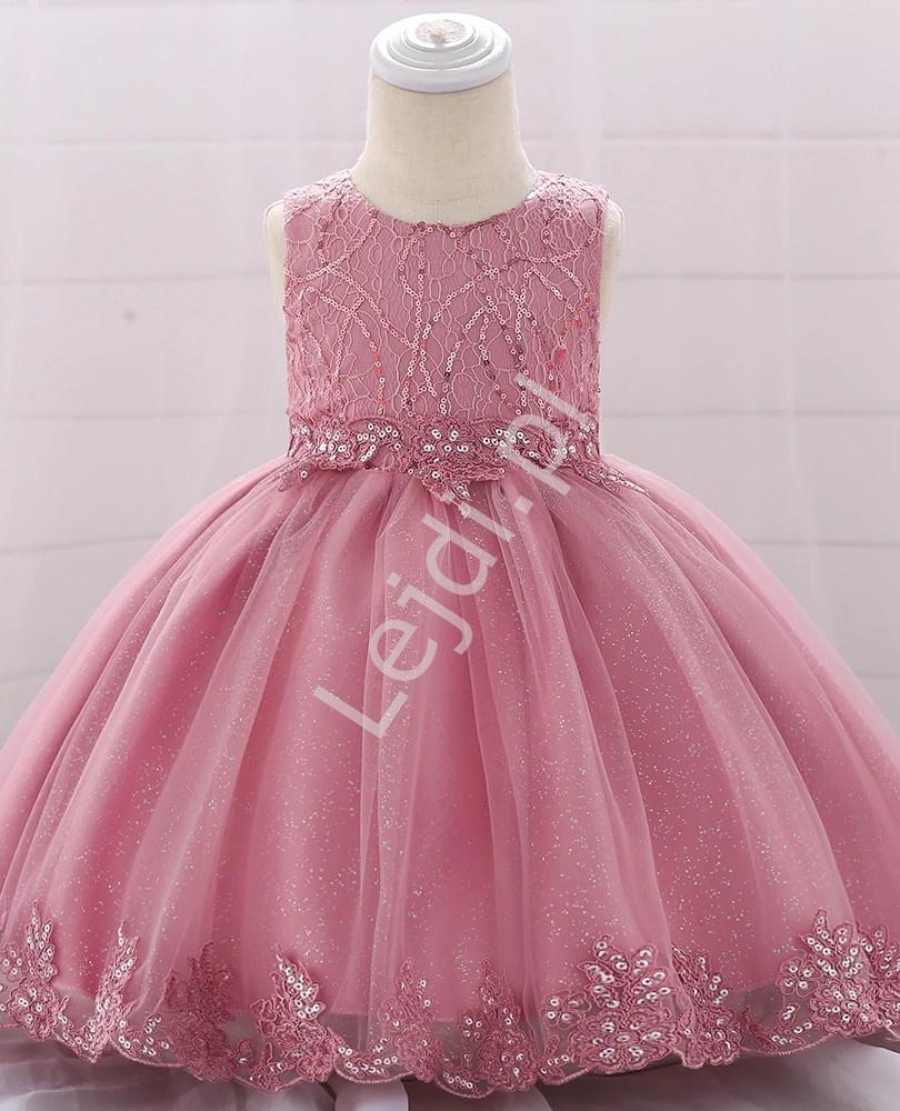 Przepiękna sukienka dla dziewczynki zdobiona brokatem 1879 - Lejdi
