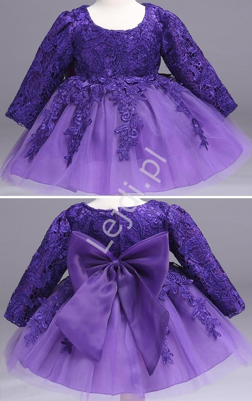 Przepiękna sukienka tiulowa z długim rękawem - fioletowa   sukienki dla dziewczynek - Lejdi
