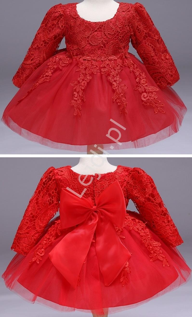 Przepiękna sukienka tiulowa z długim rękawem czerwona
