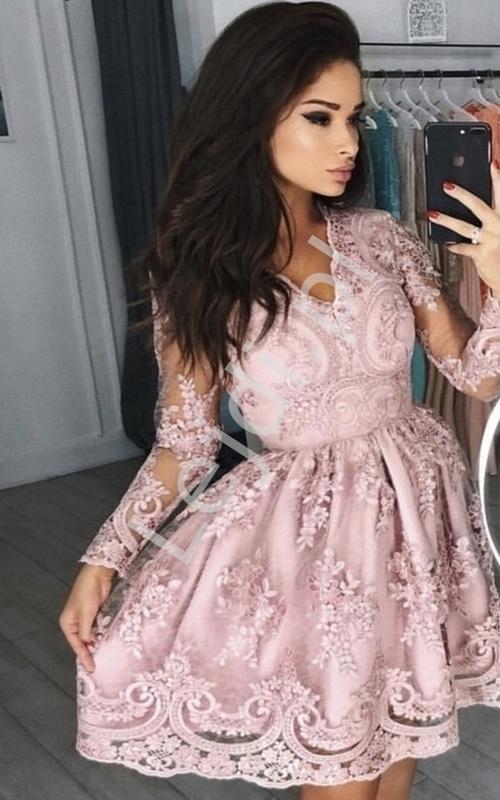 Sukienki na wesele, koronkowa sukienka pudrowy róż - Amelia - Lejdi