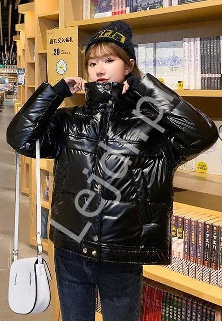 Puchowa metaliczna kurtka damska, czarna 9780 - Lejdi