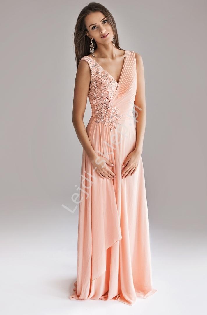 2a183490cb Zielona długa suknia z drapowanym dekoltem