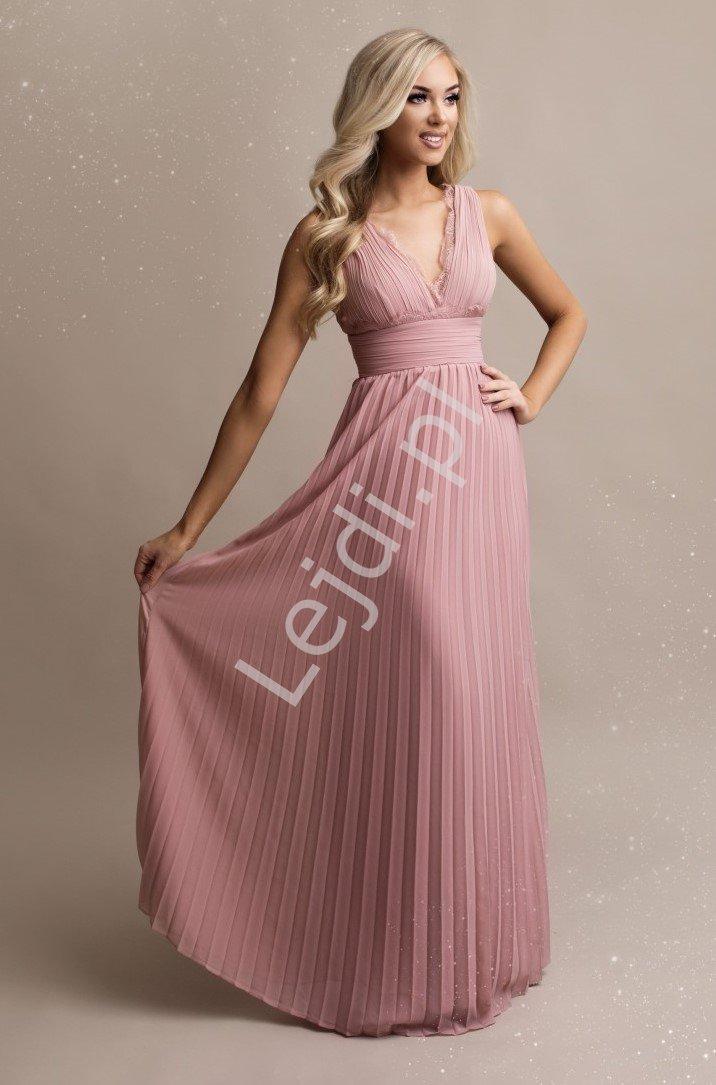 Pudrowo różowa sukienka na wesele, plisowana sukienka z koronką 2245 - Lejdi