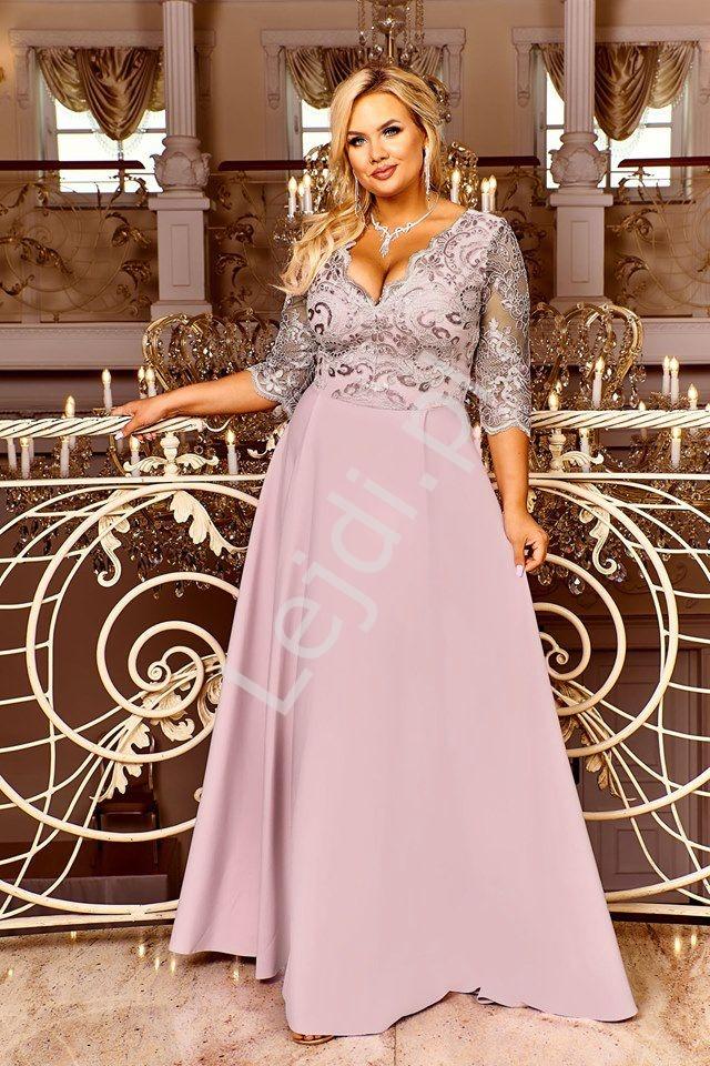 Pudrowo różowa sukienka wieczorowa plus size - Crystal 3/4 - Lejdi
