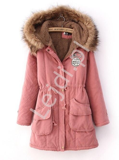Pustynno różowa kurtka zimowa, zimowa parka damska 8129 - Lejdi