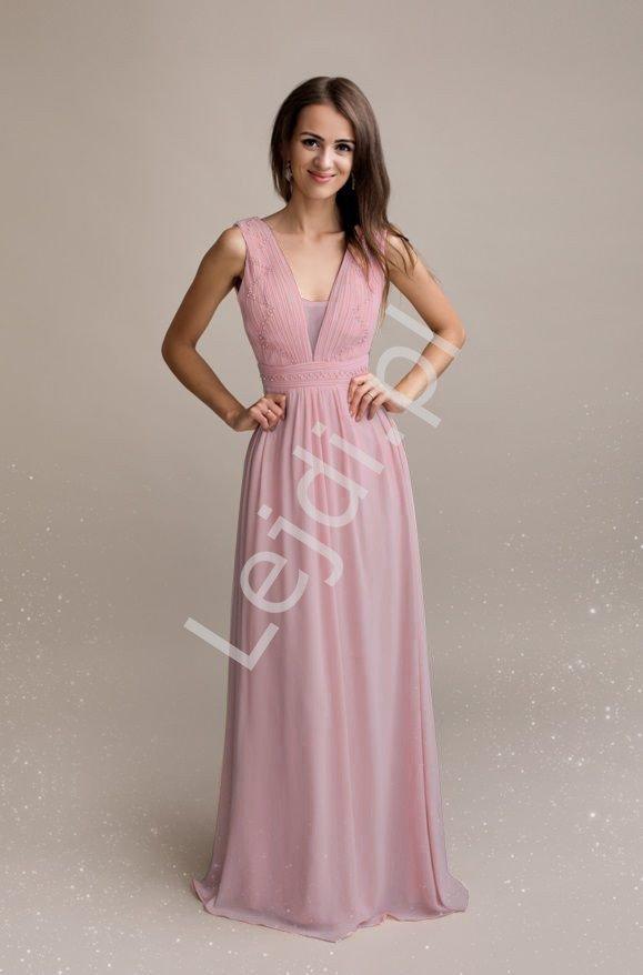 Pustynno różowa sukienka wieczorowa z zdobieniem sztucznymi perełkami 1352 - Lejdi