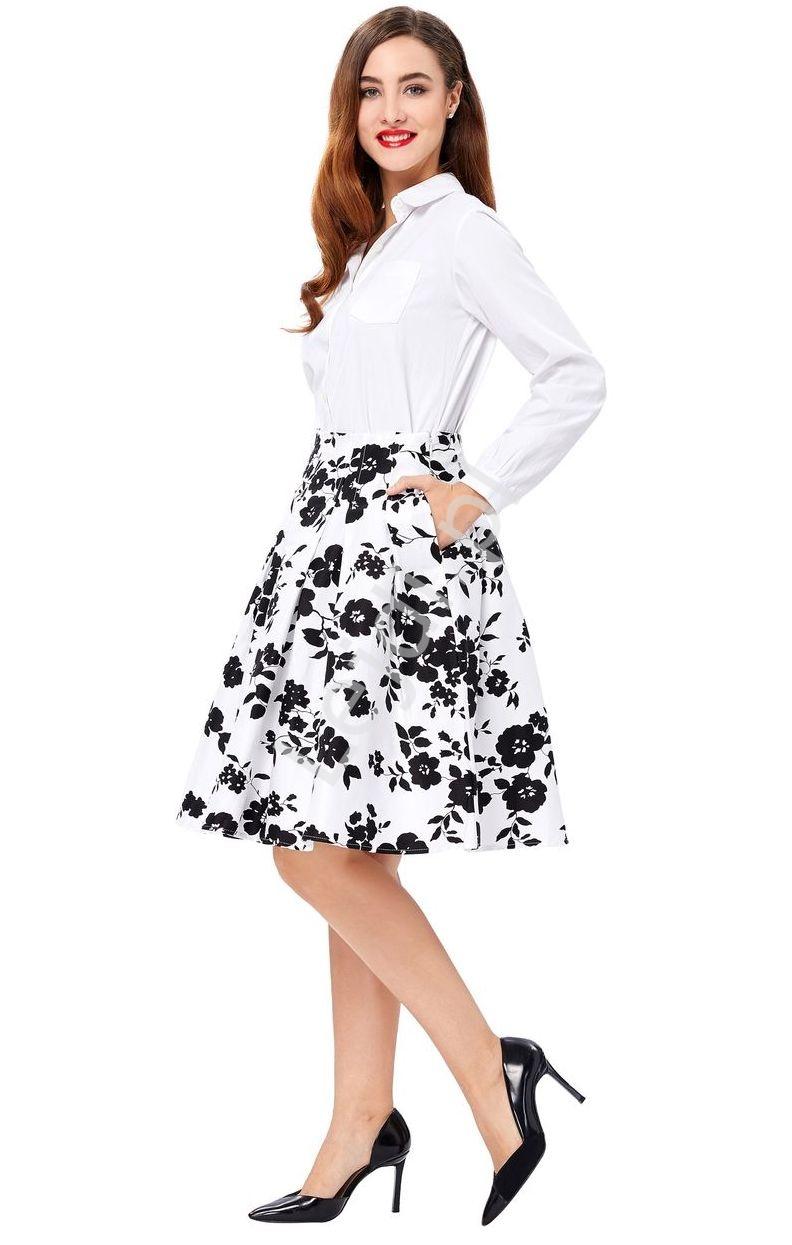 Spódnica pin-up biała w czarne kwiaty | bawełniana spódnica - Lejdi