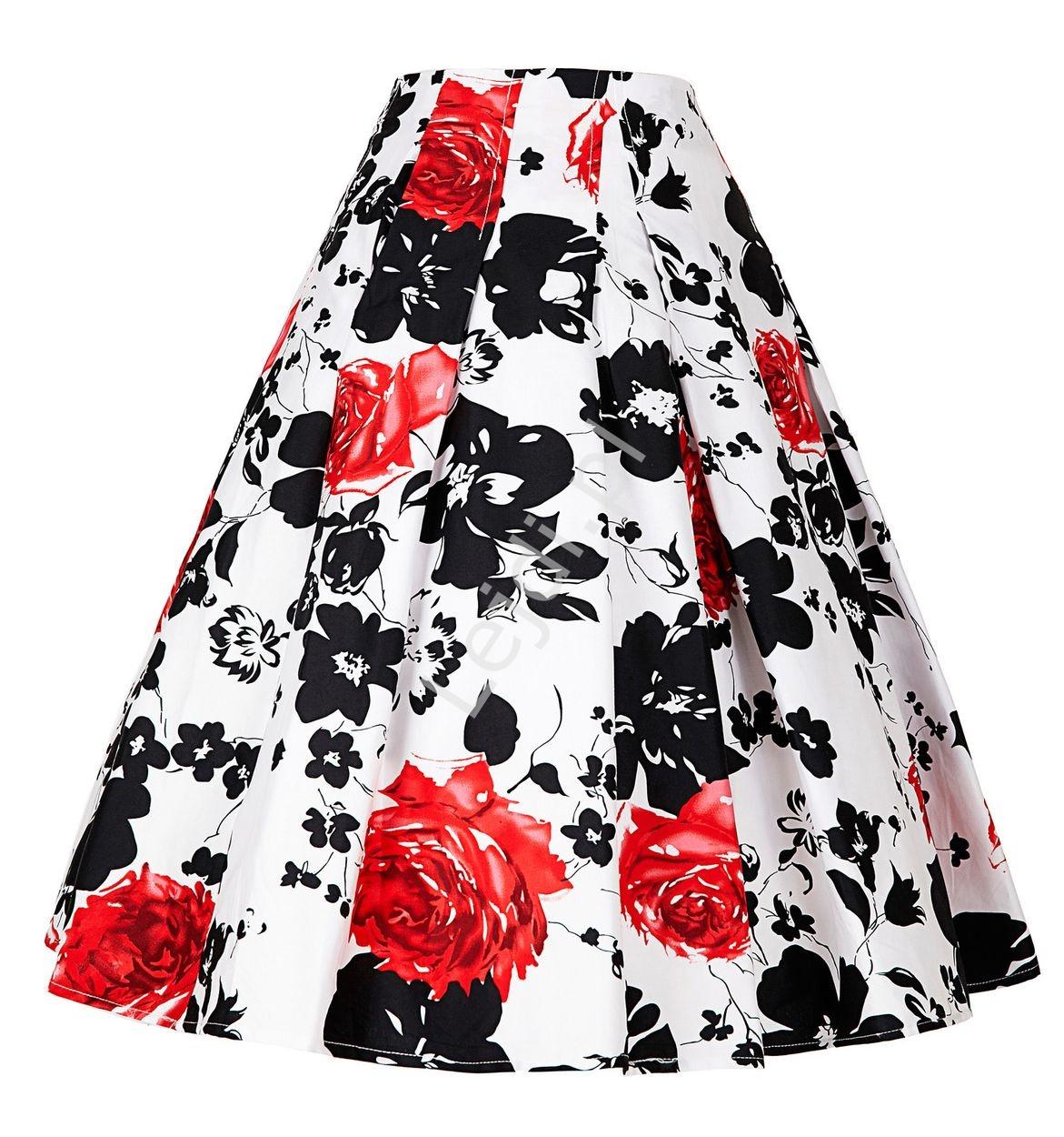 Rozkloszowana spódnica w czarno czerwone kwiaty | Biała spódnica retro pin-up