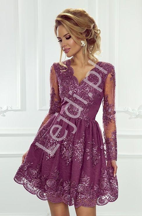Rozkloszowana sukienka na wesele wieczorowa, koronkowa sukienka śliwkowa - Amelia - Lejdi