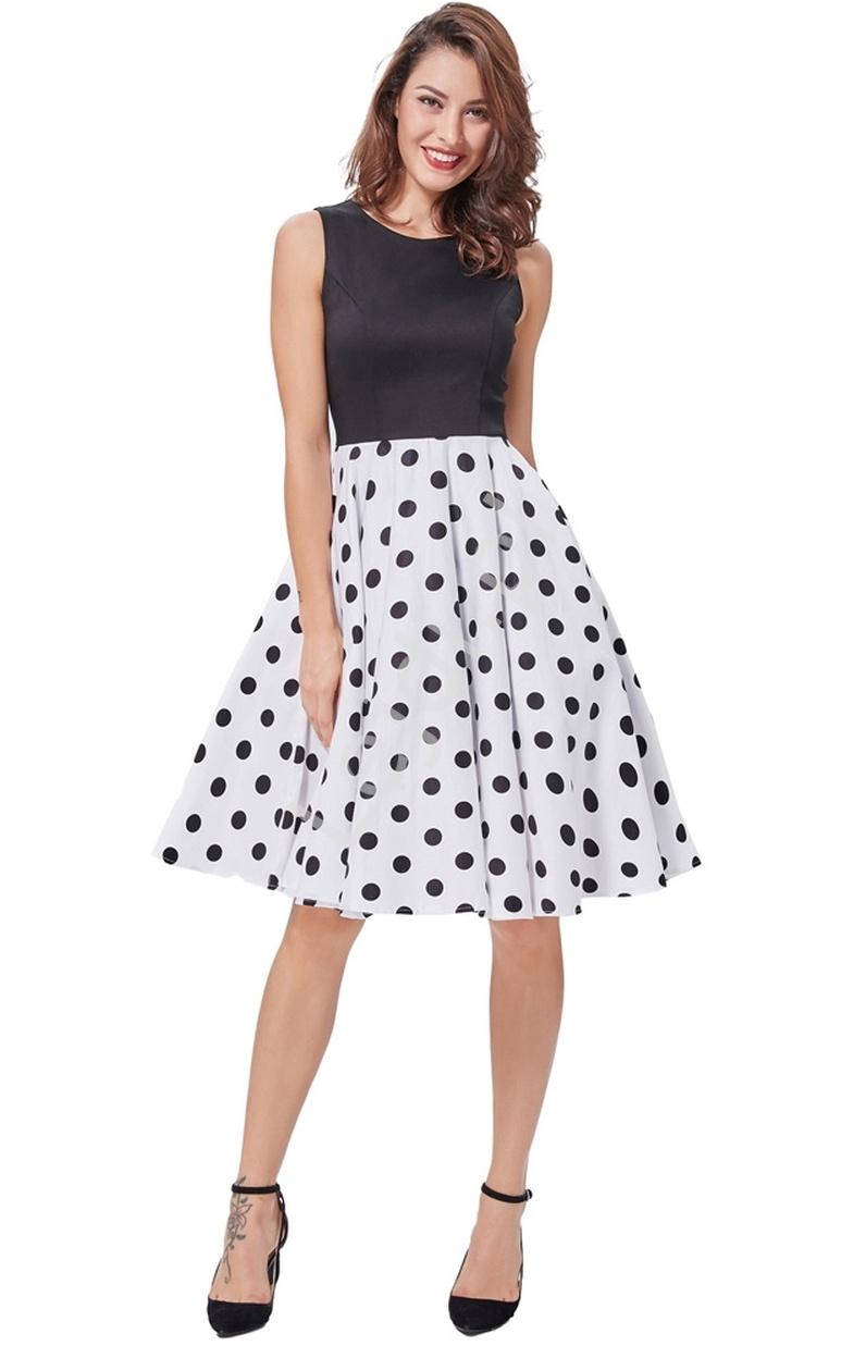 Rozkloszowana sukienka z czarną górą i białym dołem w duże czarne grochy | sukienka pin up na wesele 463-2 - Lejdi