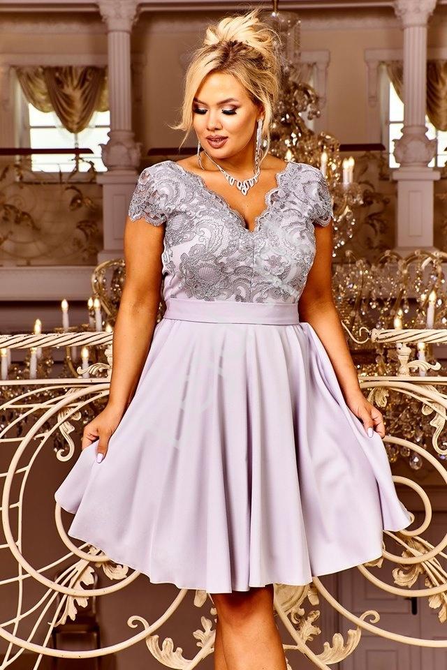 Rozkloszowana szara krótka sukienka wieczorowa - Diana 2 - Lejdi