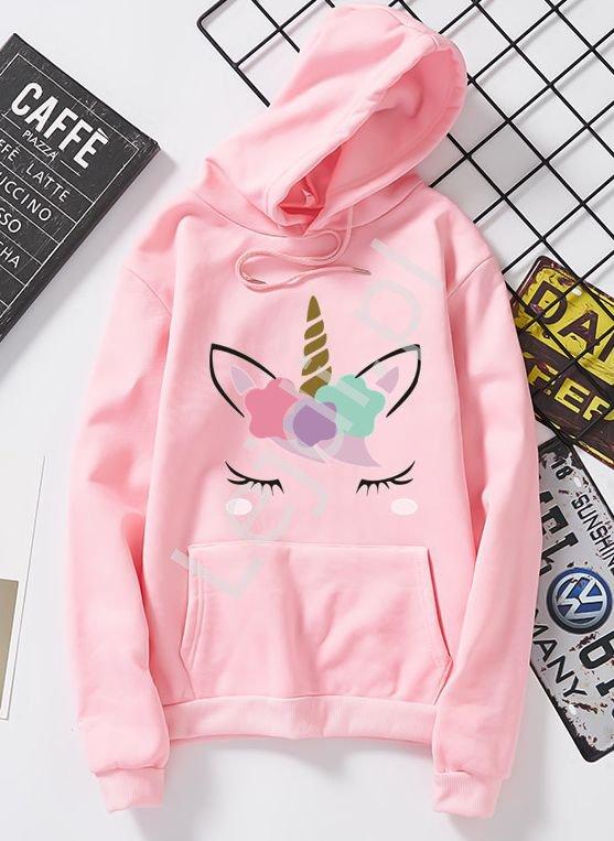 Różowa bluza kangurka z jednorożcem 6829 - Lejdi